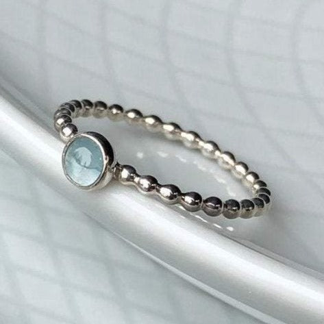 4mm Aquamarine Silver Ring