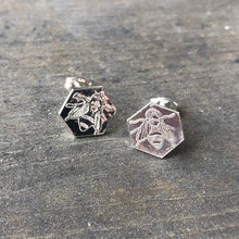 Load image into Gallery viewer, LAST PAIR of Sterling Silver Honeycomb Bee Earrings