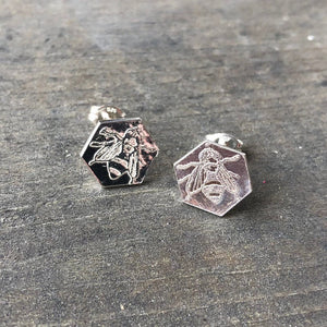 LAST PAIR of Sterling Silver Honeycomb Bee Earrings