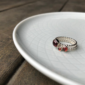 3mm Red Garnet Stacking Birthstone Ring