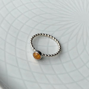 5mm Baltic Amber Silver Ring