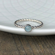 Load image into Gallery viewer, 4mm Aquamarine Silver Ring