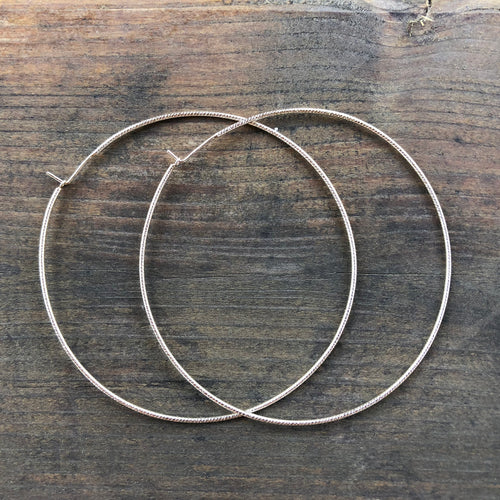 Large Silver Textured Hoop Earrings