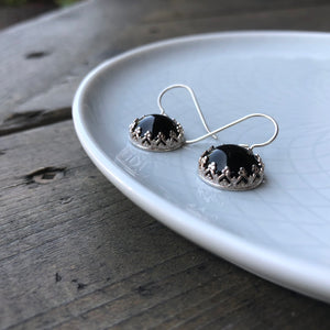 ONLY ONE PAIR of Black Onyx and Silver Dangle Earrings