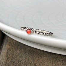 Load image into Gallery viewer, 3mm Red Garnet Stacking Birthstone Ring