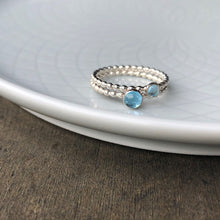 Load image into Gallery viewer, 2 sizes of Swiss Blue Topaz Ring