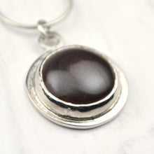 Load image into Gallery viewer, Reversible Silver Mayan Style Motif and Agate Pendant