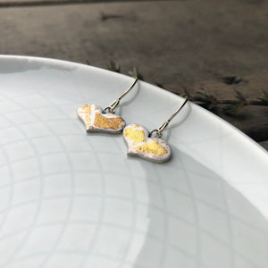 White and Gold Enamel Heart Earrings