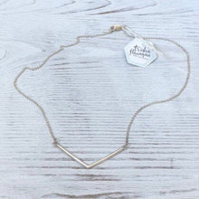Load image into Gallery viewer, Silver Chevron Bar Necklace for Everyday Wear