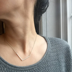 Silver Chevron Bar Necklace for Everyday Wear