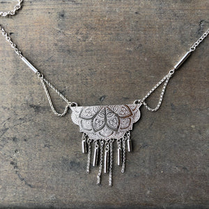 Silver Chain Mandala Necklace