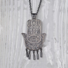 Load image into Gallery viewer, Silver Statment Hamsa Pendant