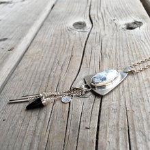 Load image into Gallery viewer, Dendritic Agate with Onyx and Silver Tassels Necklace