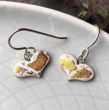 Load image into Gallery viewer, White and Gold Enamel Heart Earrings