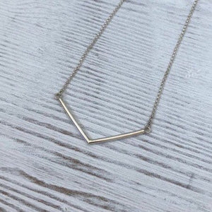 Silver Chevron Bar Necklace