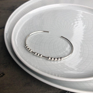 Silver BREATHE Morse Code Bangle