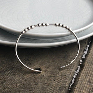 Sterling Silver BREATHE Morse Code Bangle