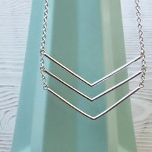 Load image into Gallery viewer, Long Silver Triple Chevron Bar Necklace