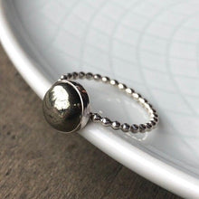 Load image into Gallery viewer, 8mm Pyrite Silver Statement Ring