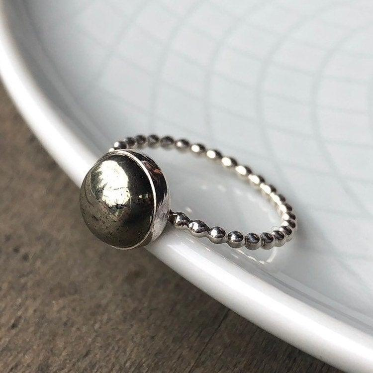 8mm Pyrite Silver Statement Ring