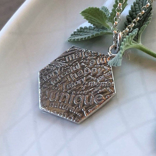 Silver Hexagon Word Collage Pendant