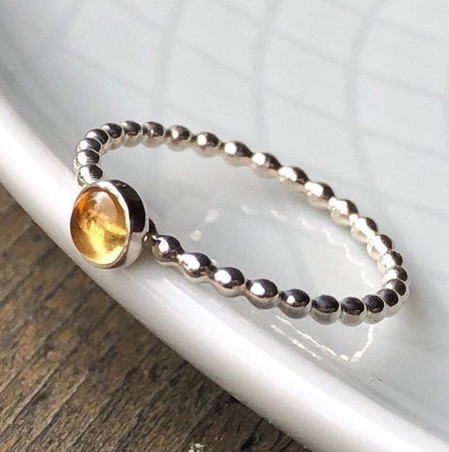 4mm Citrine Silver Ring