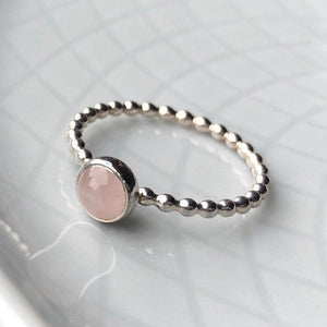 5mm Rose Quartz Silver Stackable Ring