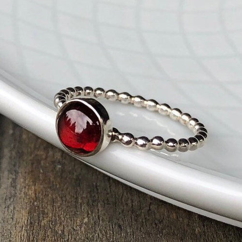 6mm Garnet Silver Stacking Ring
