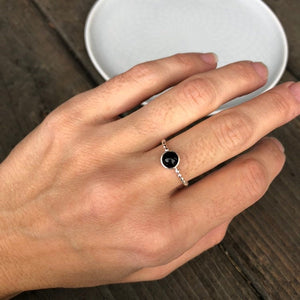 6mm Black Onyx Sterling Silver Stacking Ring