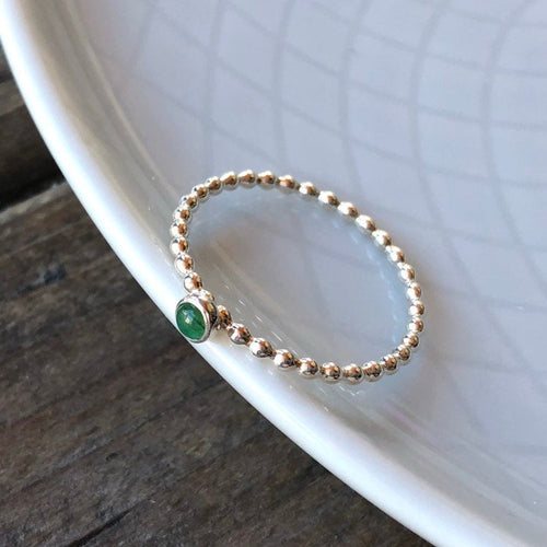3mm Emerald Silver Stacking Ring