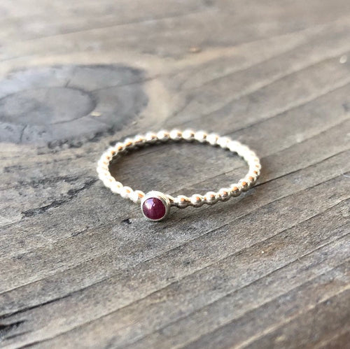 3mm Genuine Ruby Gemstone Sterling Silver Stacking Ring
