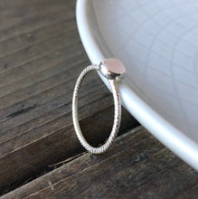 Load image into Gallery viewer, 5mm Rose Quartz Silver Textured Stackable Ring