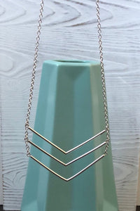 Long Silver Triple Chevron Bar Necklace