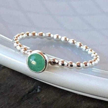 4mm Emerald Gemstone Sterling Silver Stacking Ring