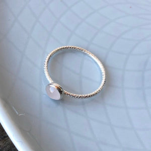 5mm Rose Quartz Silver Textured Stackable Ring
