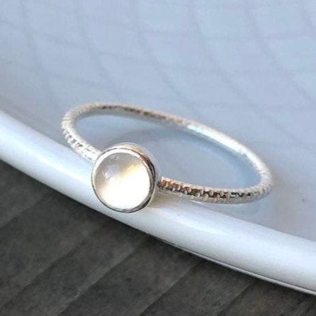 5mm White Cat-Eye Moonstone with Silver Textured Band