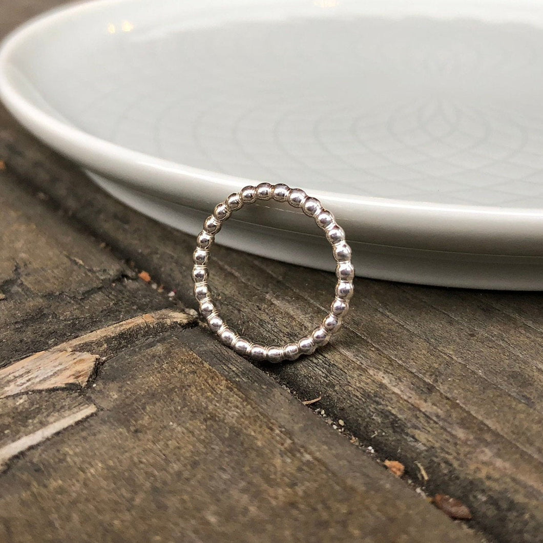 Sterling Silver 12 Gauge Beaded Band Ring