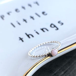 4mm Pink Opal Sterling Silver Stacking Ring