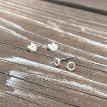 Load image into Gallery viewer, Micro Silver Textured Open Circle Studs Earrings