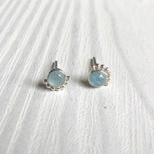 Load image into Gallery viewer, 4mm Eyelash Aquamarine Stud Earrings