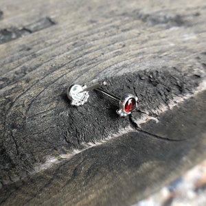 4mm Sterling Silver Eyelash Garnet Stud Earrings