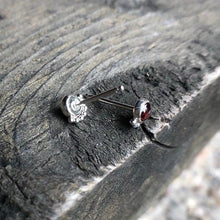Load image into Gallery viewer, 4mm Sterling Silver Eyelash Garnet Stud Earrings