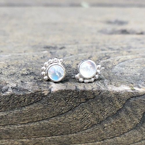 Eyelash Rainbow Moonstone Stud Earrings