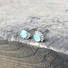 Load image into Gallery viewer, Sterling Silver Eyelash Chrysoprase Studs