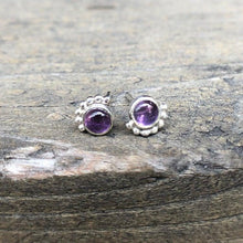 Load image into Gallery viewer, 4mm Eyelash Amethyst Studs