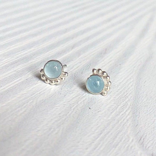 4mm Eyelash Aquamarine Stud Earrings