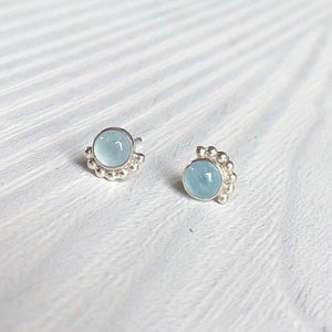 Eyelash Aquamarine Stud Earrings