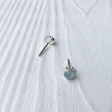 Load image into Gallery viewer, Eyelash Aquamarine Stud Earrings