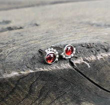 Load image into Gallery viewer, Sterling Silver Eyelash Garnet Stud Earrings