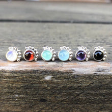 Load image into Gallery viewer, 4mm Eyelash Rainbow Moonstone Stud Earrings